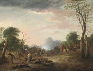 Landschap met een overval op een konvooi