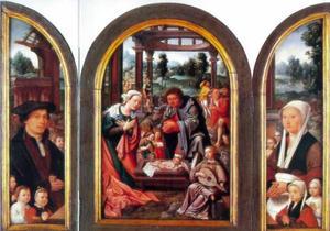 Stichter met zijn zonen (links), de geboorte van Christus (midden), stichtster met haar dochters (rechts)