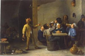 Interieur met boeren die Driekoningen vieren
