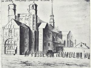 Blik op St. Pantaleon in Keulen met op de voorgrond een processie