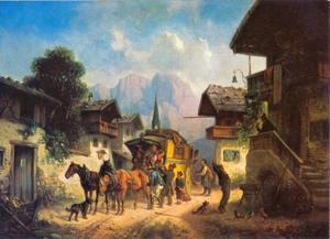 Aankomst van de postkoets in Partenkirchen