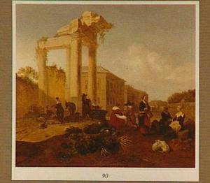 Zuidelijk landschap met markt bij een ruïne