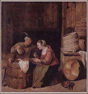 Boerenpaar aan de maaltijd in een interieur