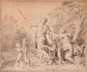 Venus tracht Adonis ervan te weerhouden op jacht te gaan