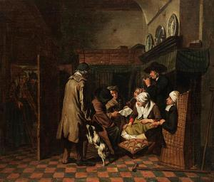 Interieur met een zittend gezelschap rondom een man die een brief leest