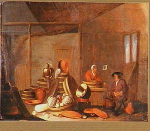 Stalinterieur met boerenpaar en stilleven van keukengerei en groenten