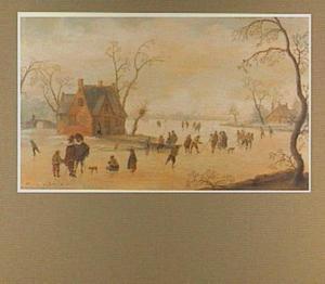 Winterlandschap met schaatsers in de bocht van een rivier