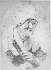 Oude vrouw met een fluit