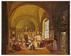 Interieur van het atelier van Van Dael en zijn leerlingen aan de Sorbonne