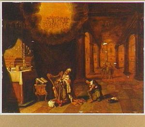 Koning David speelt harp voor de Ark des Verbonds (2 Samuel 6:10
