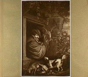 Man met valk op zijn hand leunt uit een raam; daaronder een hond bij jachtbuit van haas en gevogelte