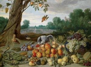 Stilleven met fruit, noten en artisjokken met een papegaai, een hop en zangvogels voor een formele tuin