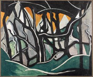 Bild (Landschap met bomen en bergen)
