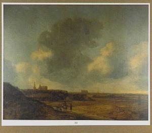 Weids landschap met ruiter; in de verte de kerk van Alkmaar