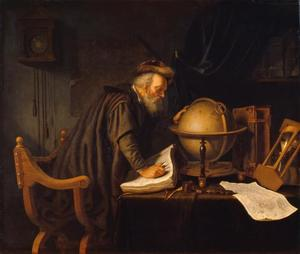 Oude man met een globe, boeken en een zandloper in een studeervetrek