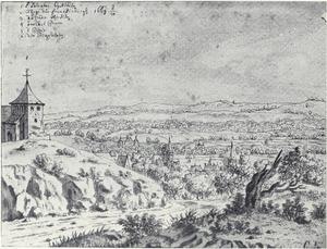 Gezicht op Aken en de de St. Salvator vanaf de Lousberg