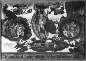 Ontkleding en kruisnageling van Christus (op de achterzijde de duif en het bovenlichaam van de engel van de annunciatie)