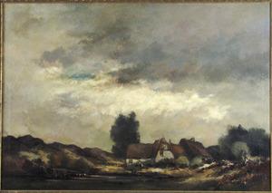 Landschap met boerderij bij bewolkte hemel