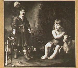 Dubbelportret van twee jongens in een landschap, de een verkleed als jager, de ander als Johannes de Doper
