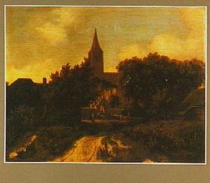 Landschap met een kerk tussen de bomen