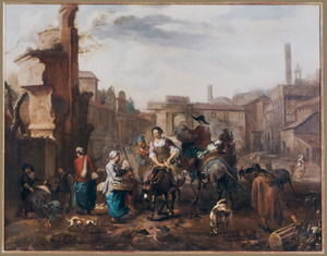 Zuidelijk stadsgezicht met marktlieden en een pelgrim