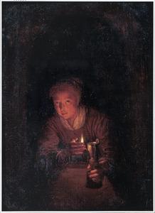 Meisje in een venster met een olielamp