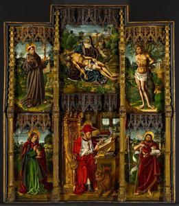 Altaarstuk met treurende Maria, Hiëronymus, Johannes de Evangelist, Johannes de Doper, Sint Francisus en Sint Sebastiaan