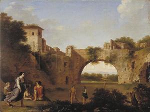 Landschap met ruïnes, een brug en figuren