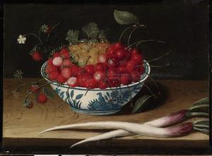 Stilleven  van een kom met vruchten en een paar schorseneren