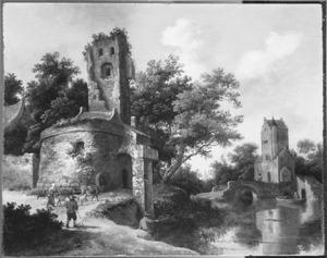 Rivierlandschap ruïnes bij een brug