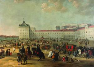 Het grote plein van Lissabon met Francisco de Mello and Torres in de koets en Catherina van Braganza met haar moeder Luisa de Gusmao in het midden