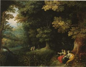 Boslandschap met Diana en haar nimfen