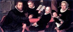 Portret van Laurens Jacobsz. (....-1603) en zijn gezin