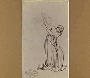 Jonge vrouw met opgeheven armen en schets van een man
