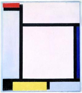 Compositie met rood, blauw, zwart, geel en grijs