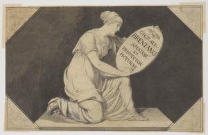 Allegorie op J.A. Brentano als beschermer der kunsten met Clio die een schild met zijn naam draagt; in de hoeken een hoorn des overvloeds, een roer, een anker en een palet