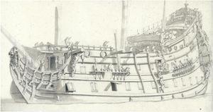 Een Engels oorlogsschip gezien vanaf bakboord