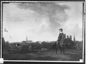 Ruiterportret van prins Frederik Hendrik van Oranje-Nassau met in de achtergrond de belegering van Breda in 1637