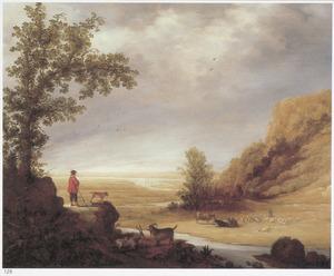 Landschap met een herder en vee bij een beek