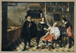 Een chirurgijn en zijn assistent opereren een man na een duel