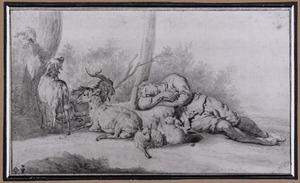 Slapende herder en vee