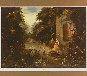 Vertumnus en Pomona in een boslandschap als allegorie op de Oogstmaand