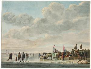 IJsgezicht met figuren; op de achtergrond de ruïne van het Huis te Merwede bij Dordrecht