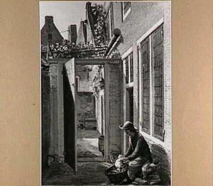 """Binnenplaatsje van het """"Huis met de Vossekop"""" in Haarlem, het geboorte- en woonhuis van de schilder"""