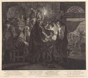 Inauguratie van een lid van de Schildersbent 'Bentvueghels' (ook wel de Bamboccianti genaamd) in een Romeinse herberg