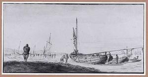 Kustgezicht met vissersboot