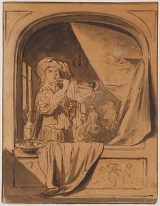 Trompetspeler gezien door een raam
