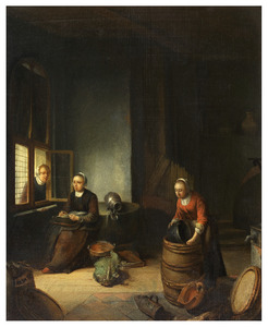 Keukeninterieur met vaatwerk schurende meid en kantklossende vrouw in gesprek aan venster