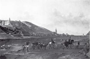 Gezicht op Heidelberg met het slot vanaf de overzijde van de river de Neckar