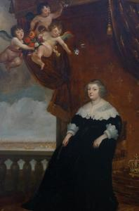 Portret van Maria de' Medici, schepen op het Amserdamse IJ in de achtergond